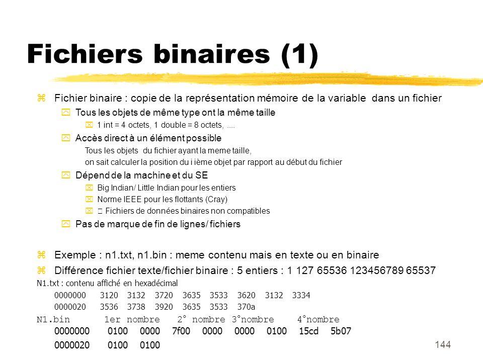 Fichiers binaires (1) Fichier binaire : copie de la représentation mémoire de la variable dans un fichier.