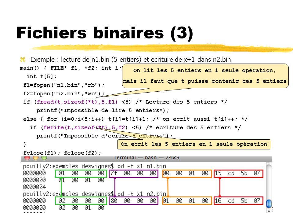 Fichiers binaires (3) Exemple : lecture de n1.bin (5 entiers) et ecriture de x+1 dans n2.bin. main() { FILE* f1, *f2; int i;