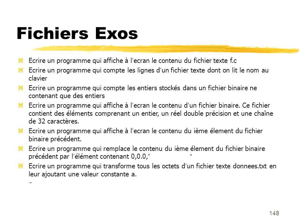 Fichiers Exos Ecrire un programme qui affiche à l'ecran le contenu du fichier texte f.c.