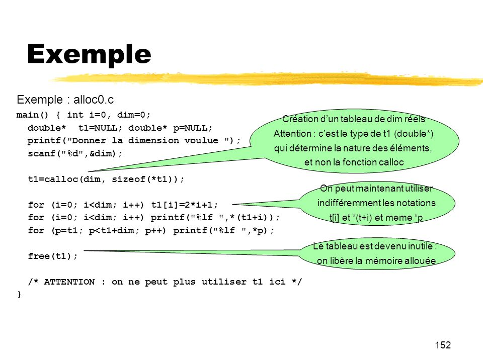 Exemple Exemple : alloc0.c main() { int i=0, dim=0;