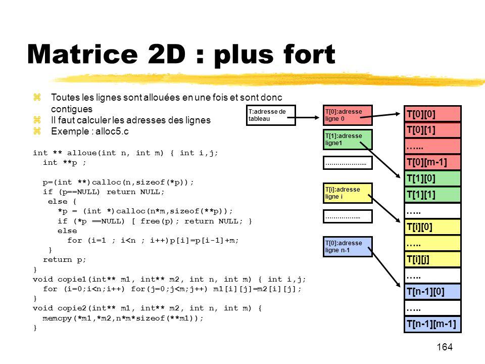Matrice 2D : plus fort Toutes les lignes sont allouées en une fois et sont donc contigues. Il faut calculer les adresses des lignes.