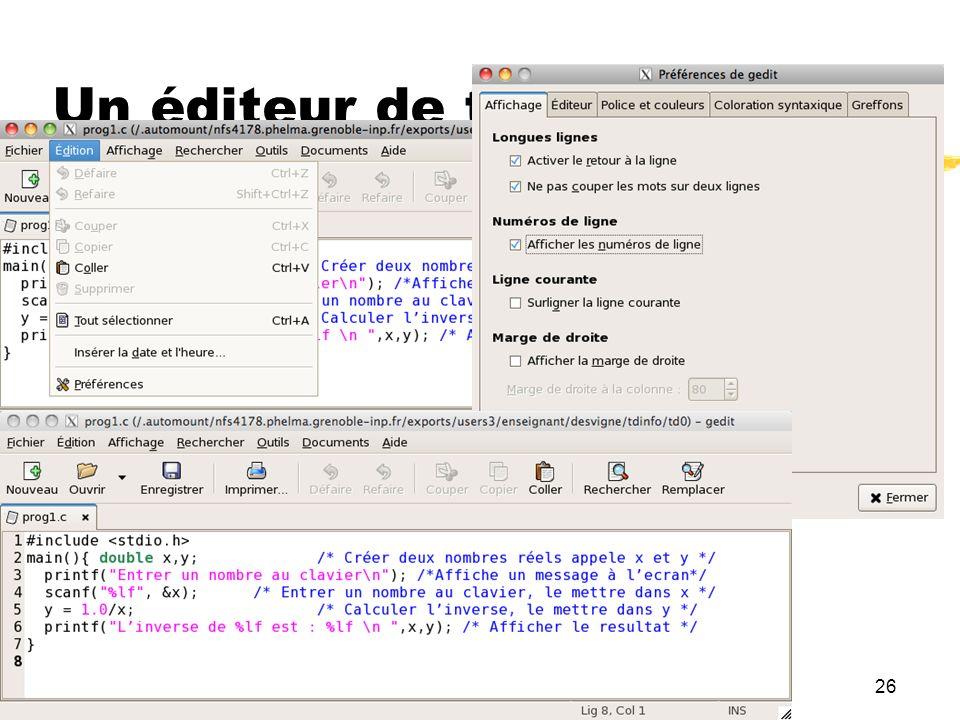 Un éditeur de texte : gedit