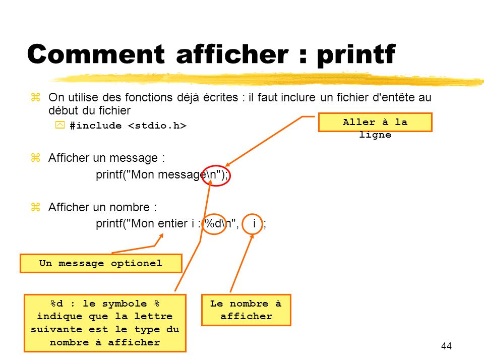 Comment afficher : printf