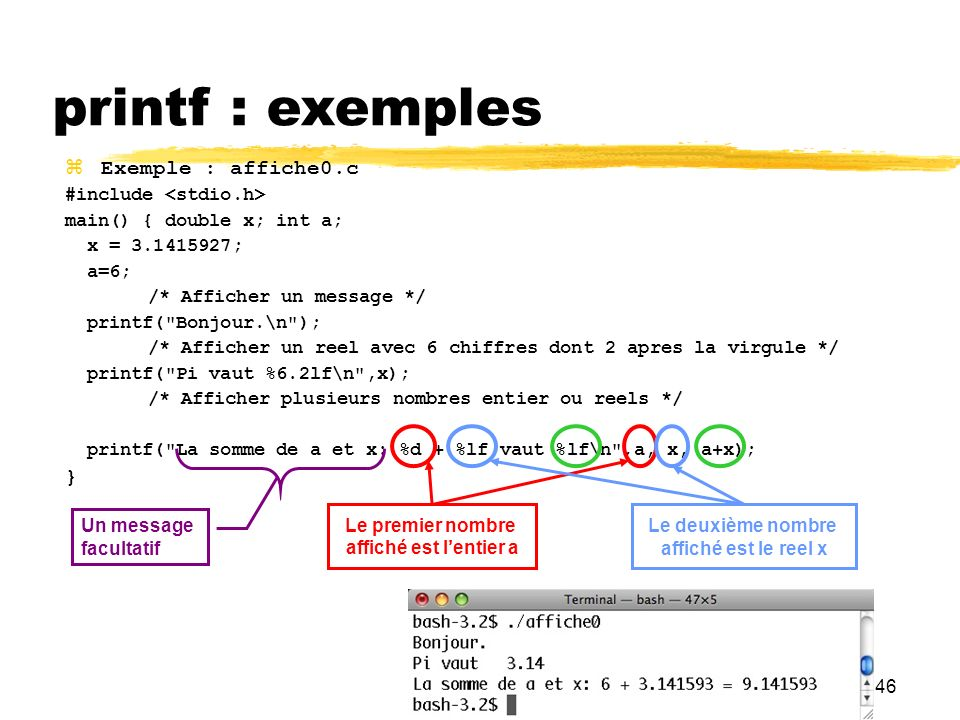 printf : exemples Exemple : affiche0.c } #include <stdio.h>