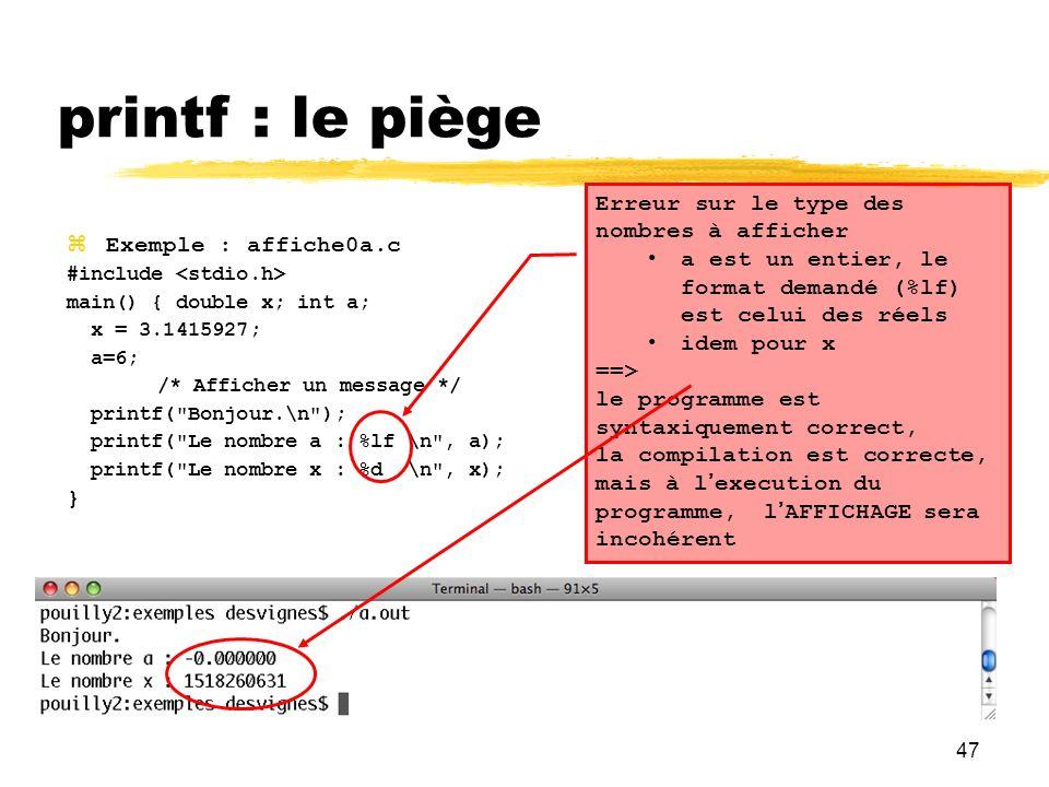 printf : le piège Erreur sur le type des nombres à afficher