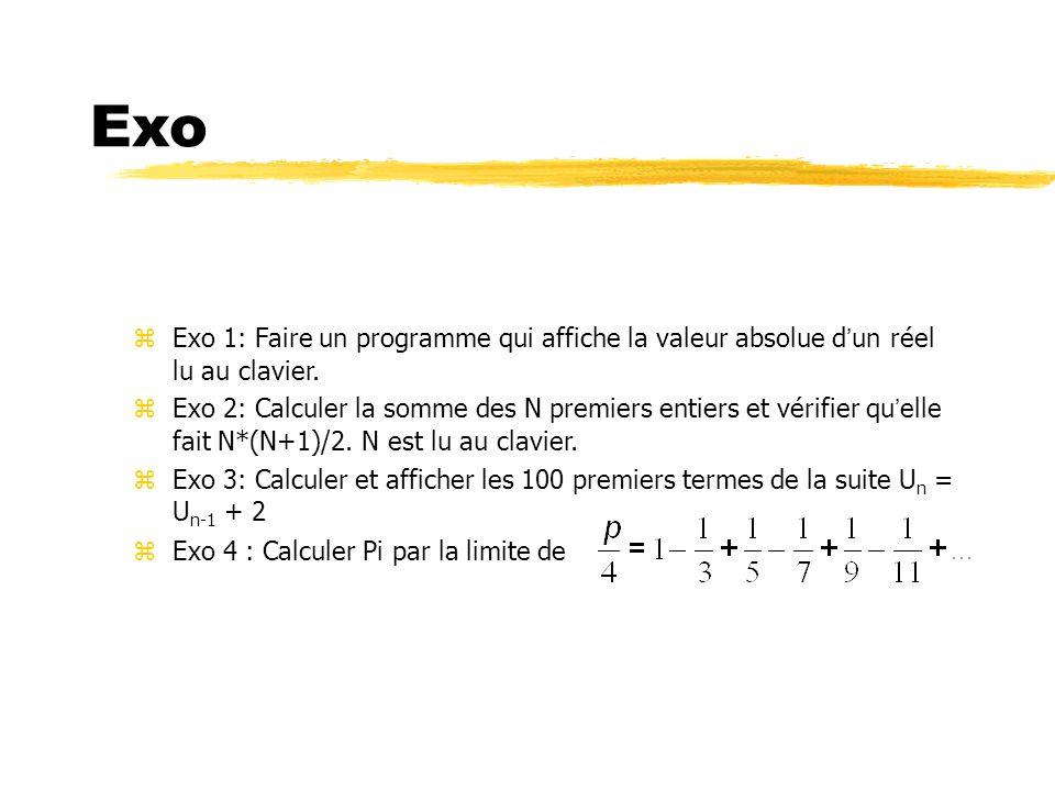 Exo Exo 1: Faire un programme qui affiche la valeur absolue d'un réel lu au clavier.