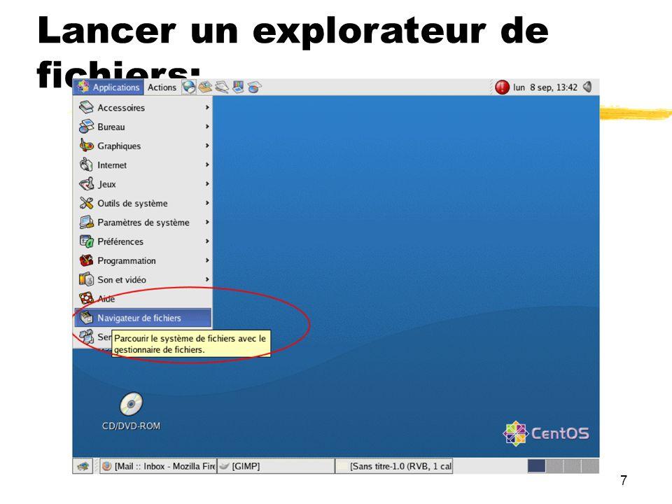 Lancer un explorateur de fichiers: