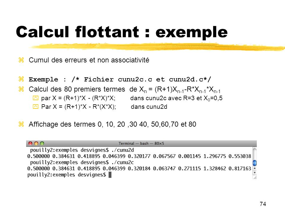 Calcul flottant : exemple