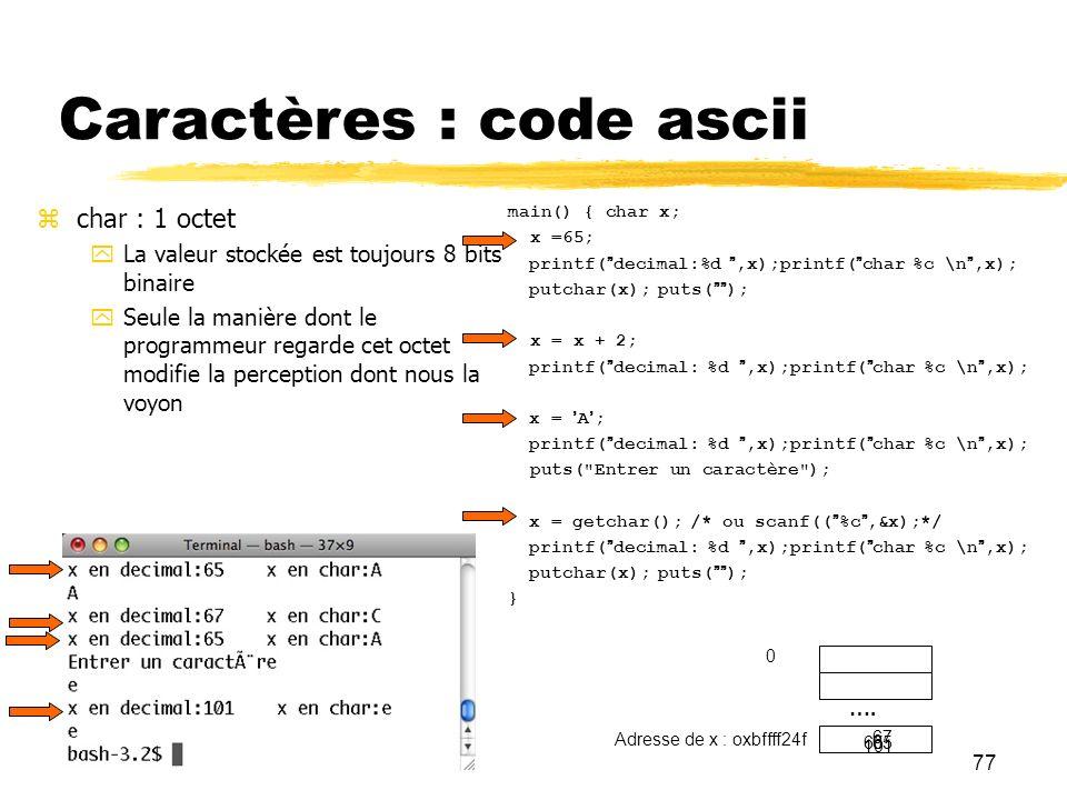 Caractères : code ascii