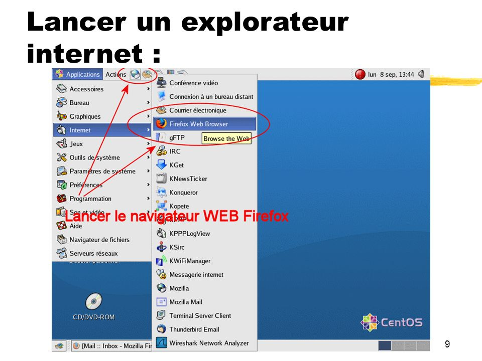 Lancer un explorateur internet :