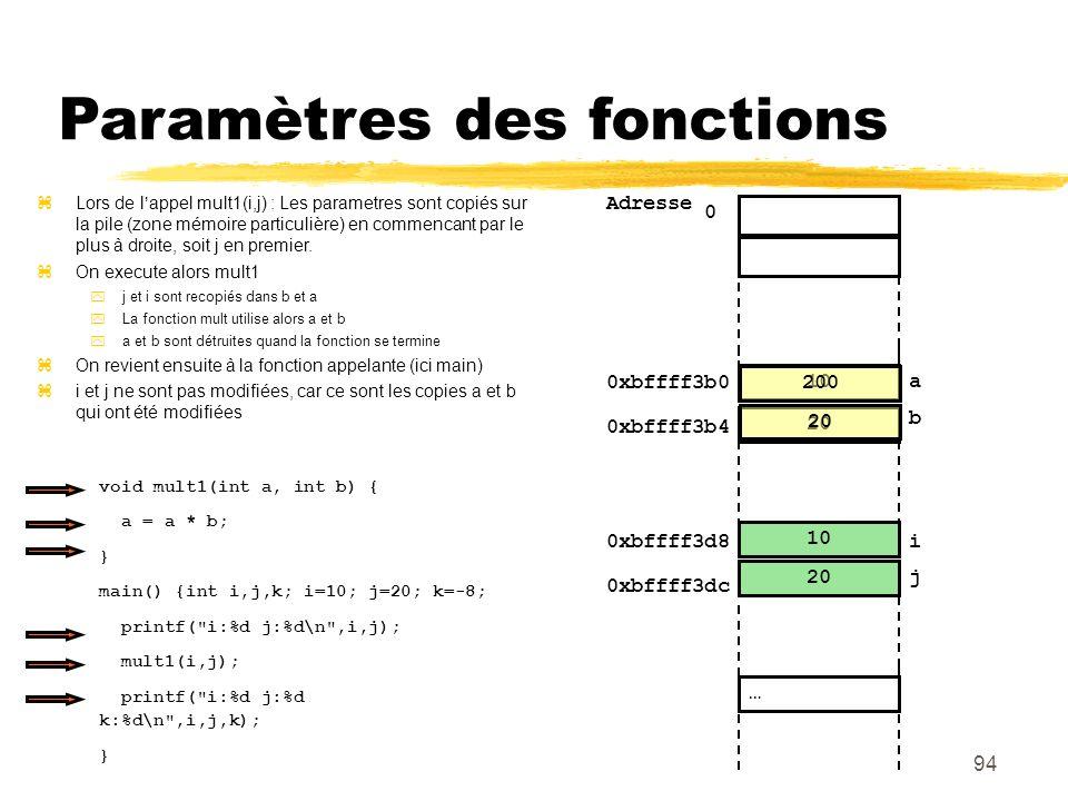 Paramètres des fonctions