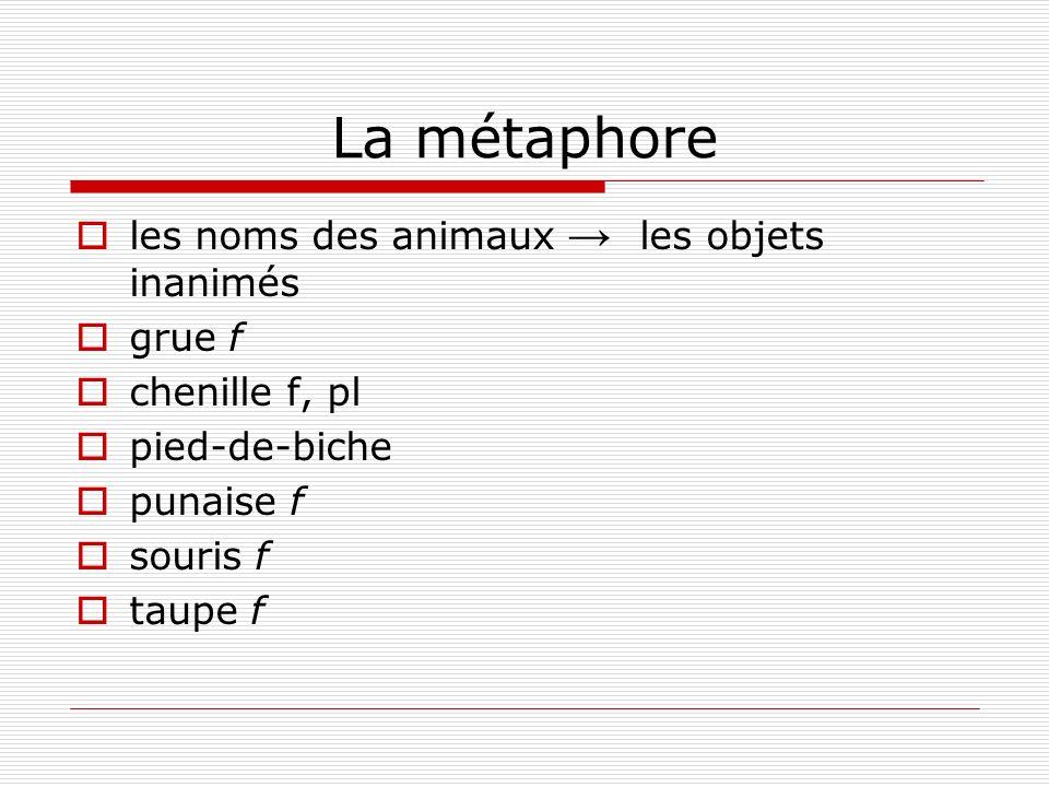 La métaphore les noms des animaux → les objets inanimés grue f