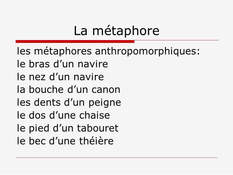 La métaphore les métaphores anthropomorphiques: le bras d'un navire
