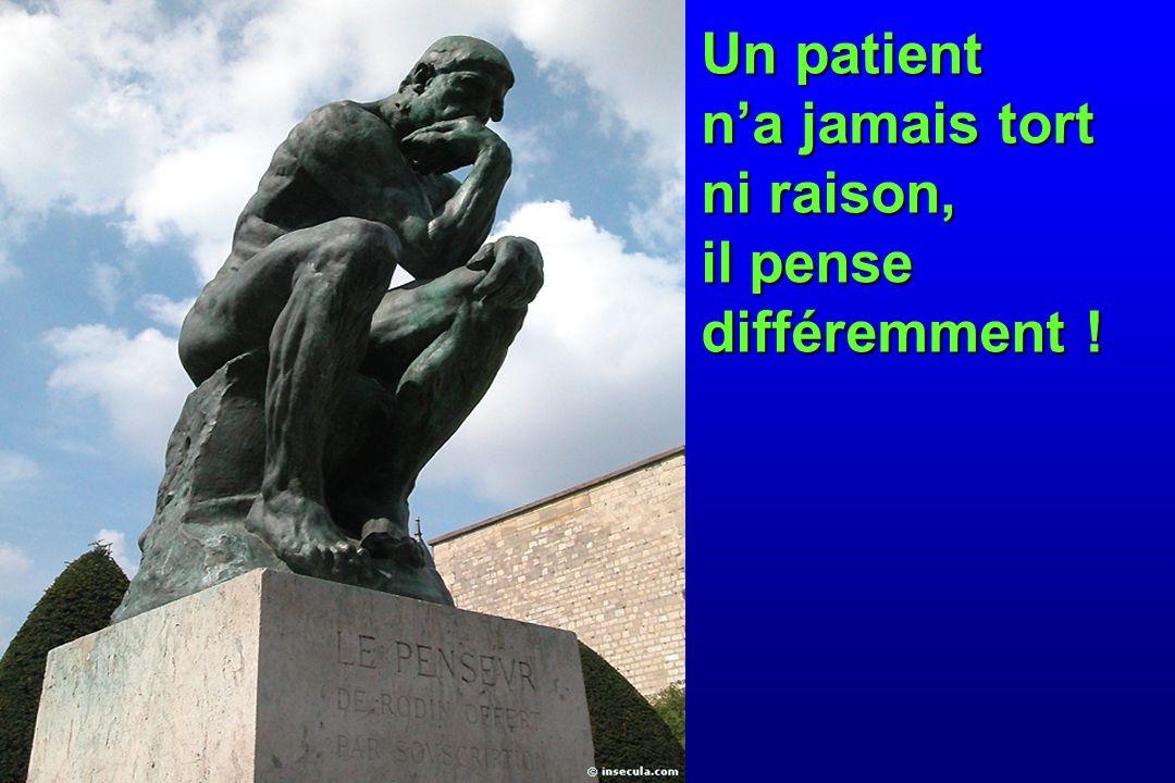 Un patient n'a jamais tort ni raison, il pense différemment !