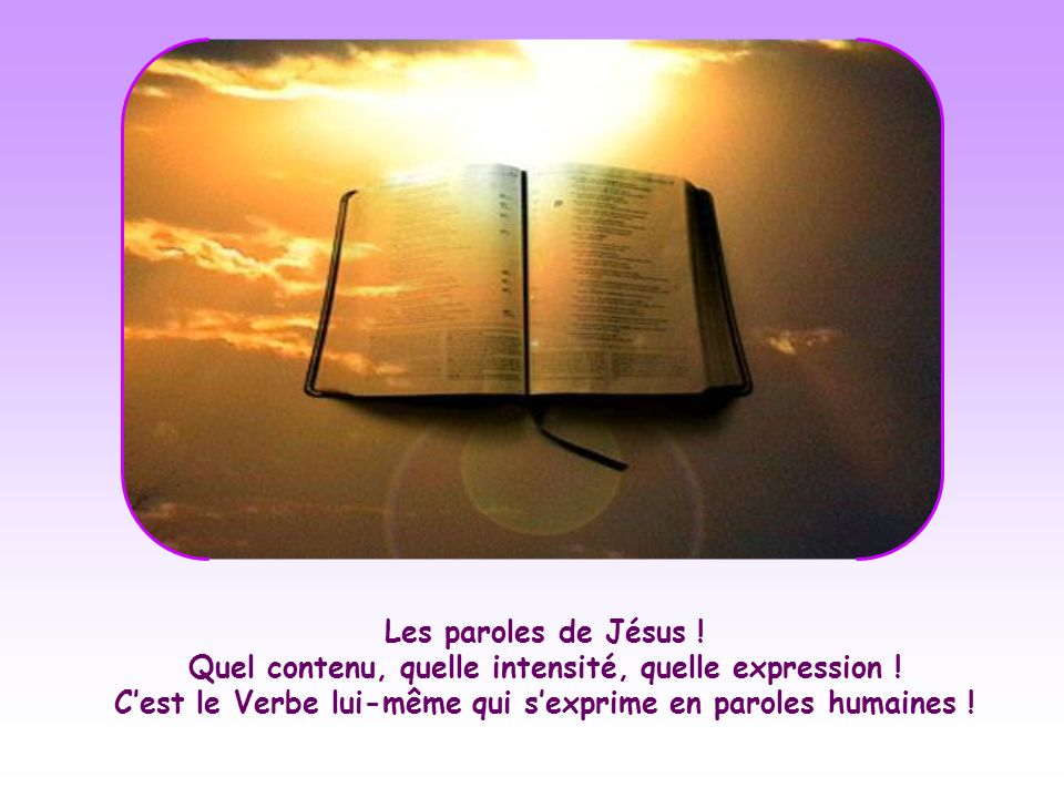 Les paroles de Jésus . Quel contenu, quelle intensité, quelle expression .