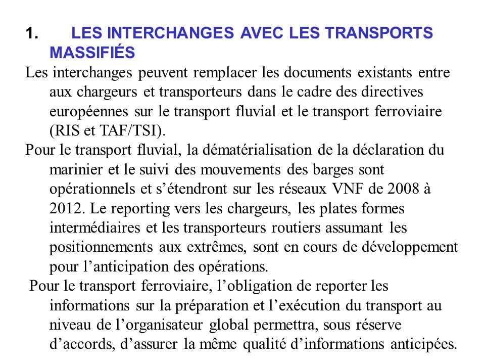 1. LES INTERCHANGES AVEC LES TRANSPORTS MASSIFIÉS