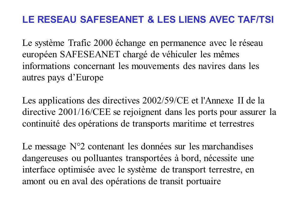 LE RESEAU SAFESEANET & LES LIENS AVEC TAF/TSI