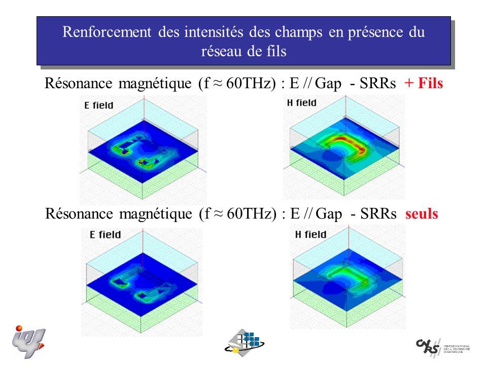 Renforcement des intensités des champs en présence du réseau de fils