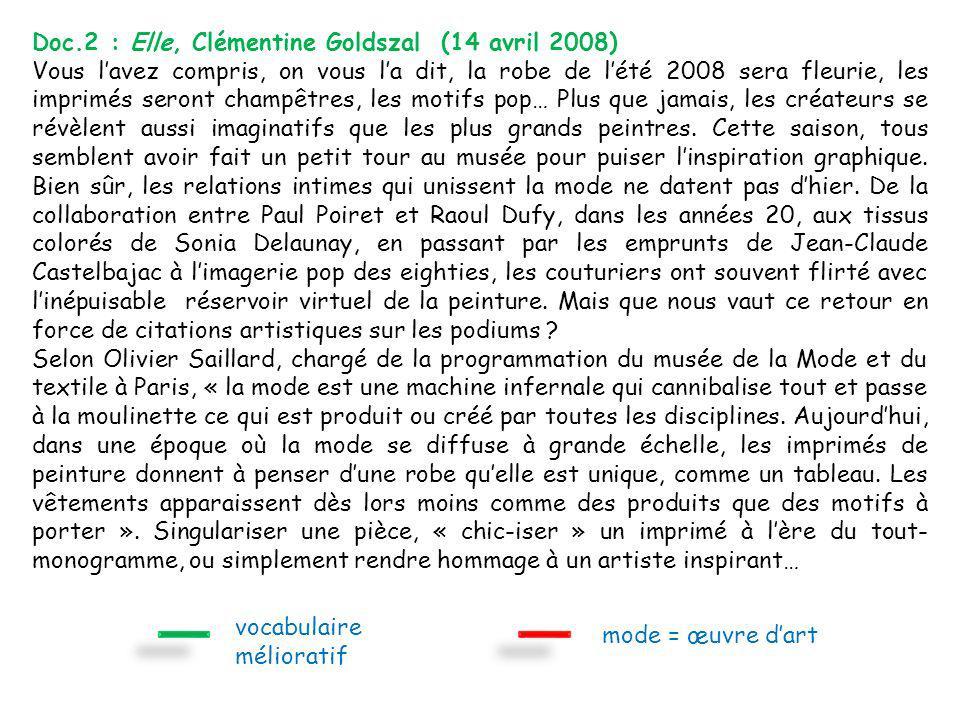 Doc.2 : Elle, Clémentine Goldszal (14 avril 2008)