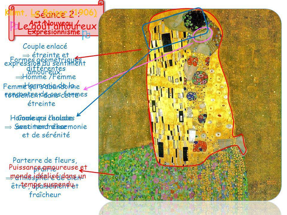 Klimt, Le Baiser (1906)  Art Nouveau / Expresionnisme