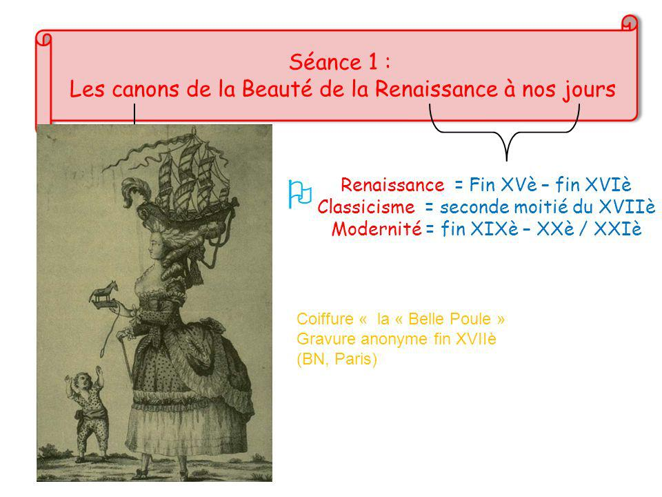  Séance 1 : Les canons de la Beauté de la Renaissance à nos jours