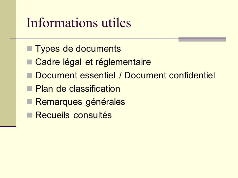 Informations utiles Types de documents Cadre légal et réglementaire