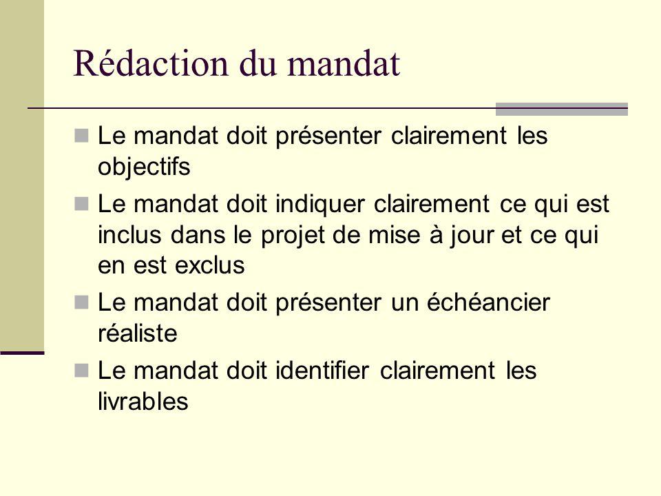 Rédaction du mandat Le mandat doit présenter clairement les objectifs