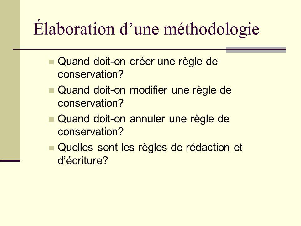 Élaboration d'une méthodologie