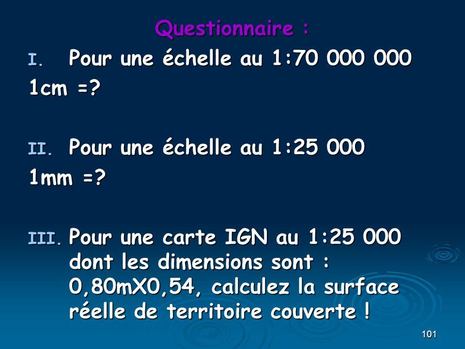 Questionnaire : Pour une échelle au 1:70 000 000. 1cm = Pour une échelle au 1:25 000. 1mm =