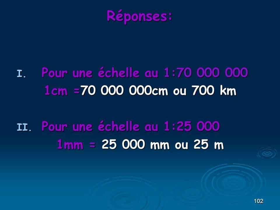 Réponses: Pour une échelle au 1:70 000 000 1cm =70 000 000cm ou 700 km