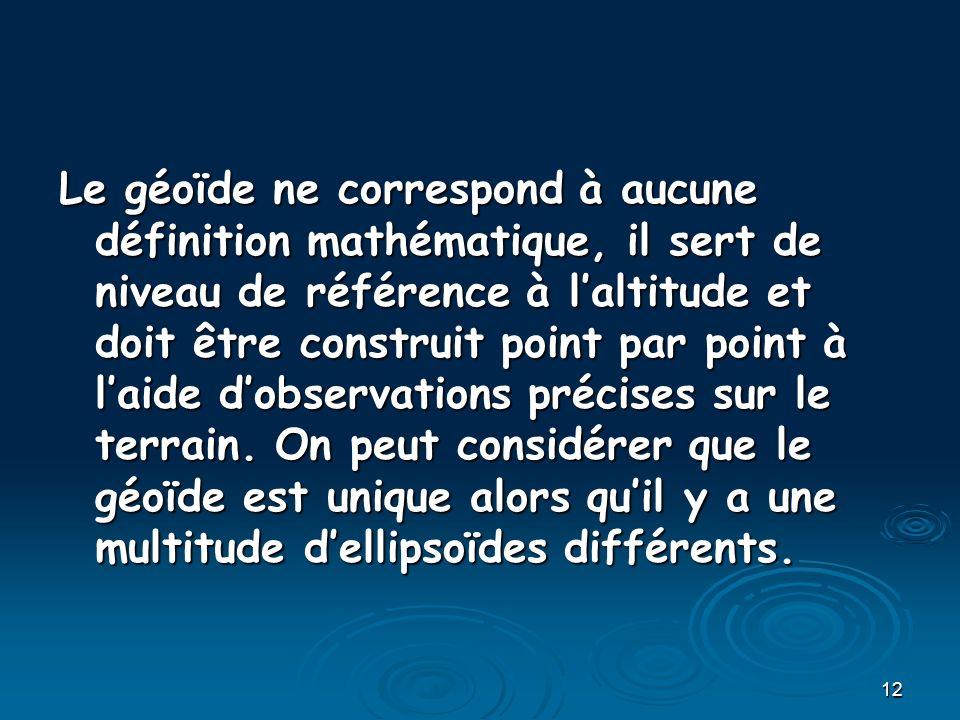 Le géoïde ne correspond à aucune définition mathématique, il sert de niveau de référence à l'altitude et doit être construit point par point à l'aide d'observations précises sur le terrain.