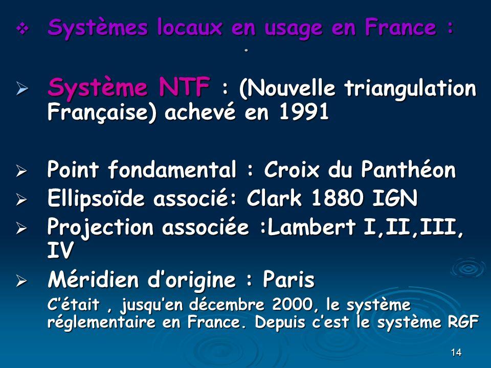 Système NTF : (Nouvelle triangulation Française) achevé en 1991