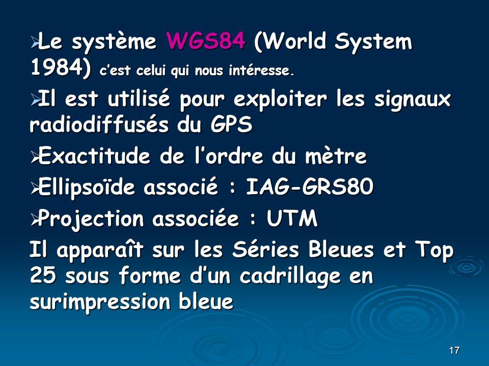 Le système WGS84 (World System 1984) c'est celui qui nous intéresse.