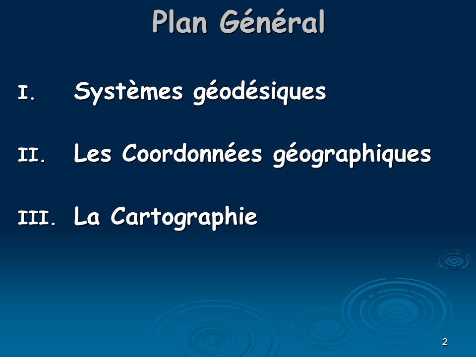 Plan Général Systèmes géodésiques Les Coordonnées géographiques