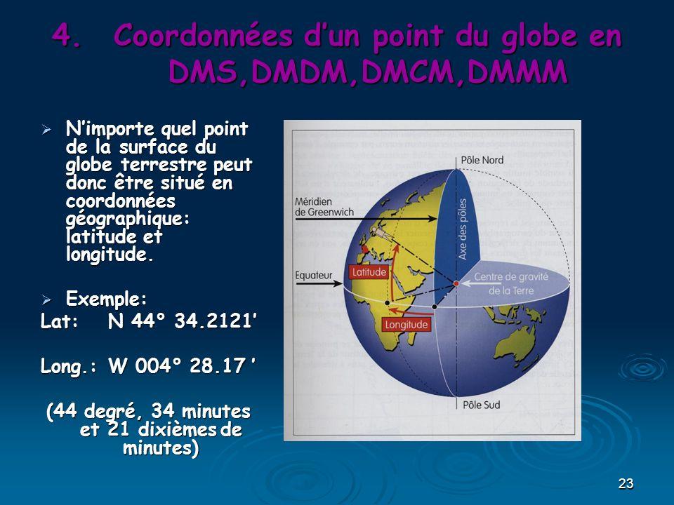 Coordonnées d'un point du globe en DMS,DMDM,DMCM,DMMM