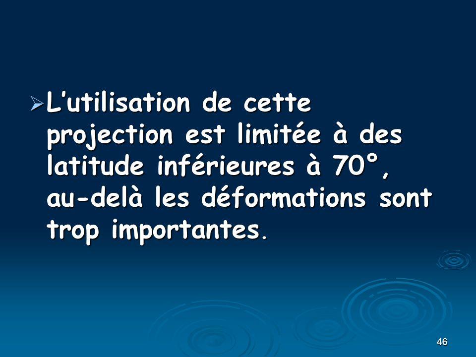 L'utilisation de cette projection est limitée à des latitude inférieures à 70°, au-delà les déformations sont trop importantes.