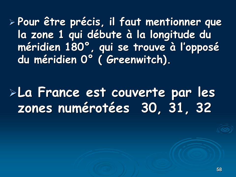 La France est couverte par les zones numérotées 30, 31, 32