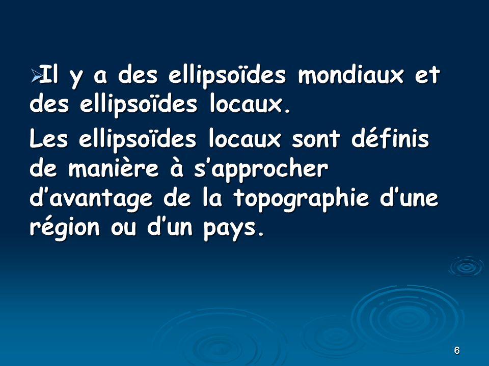Il y a des ellipsoïdes mondiaux et des ellipsoïdes locaux.