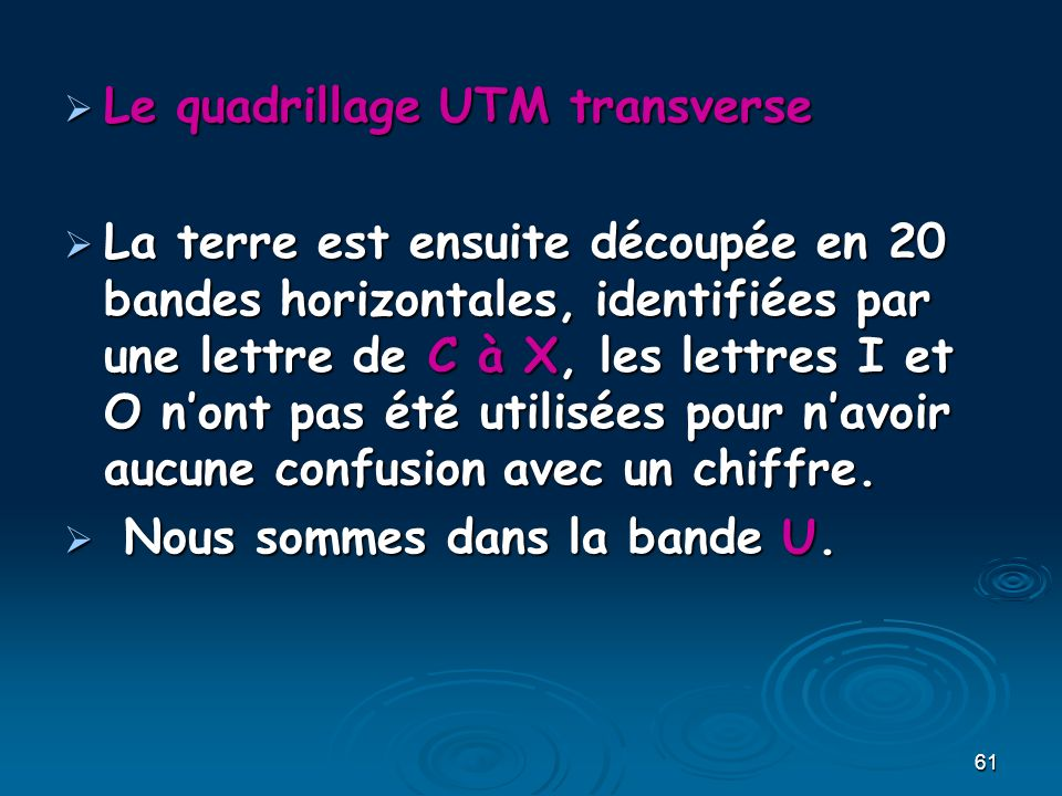 Le quadrillage UTM transverse