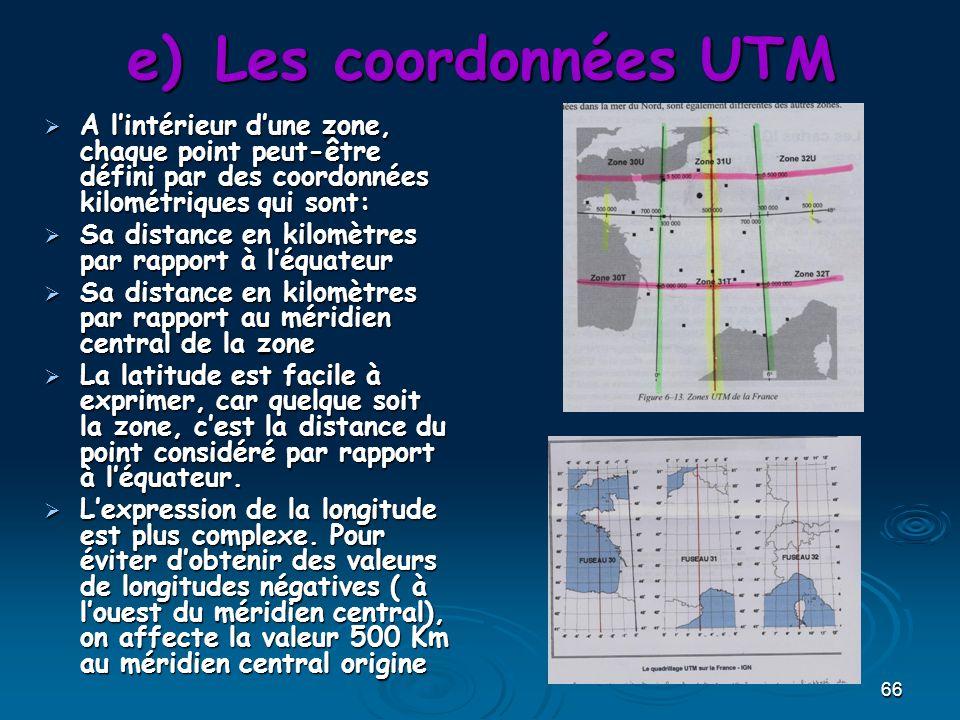 Les coordonnées UTM A l'intérieur d'une zone, chaque point peut-être défini par des coordonnées kilométriques qui sont: