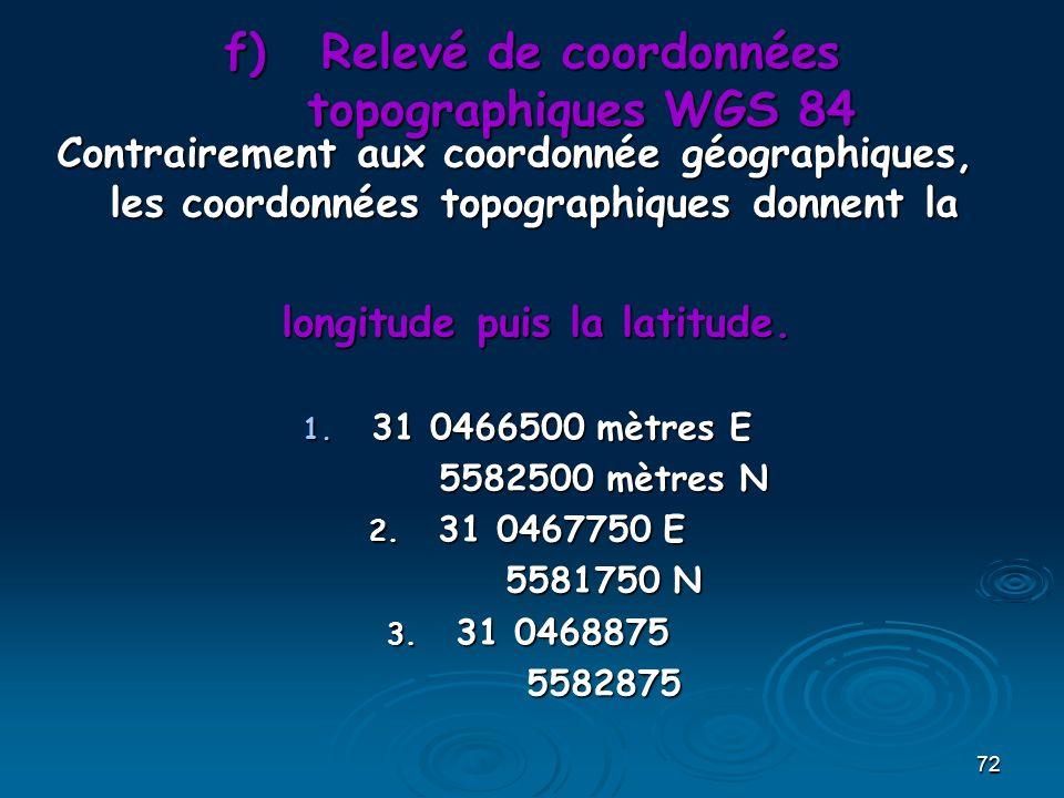 Relevé de coordonnées topographiques WGS 84