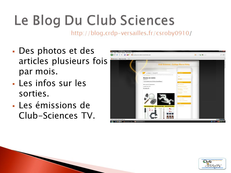 Le Blog Du Club Sciences