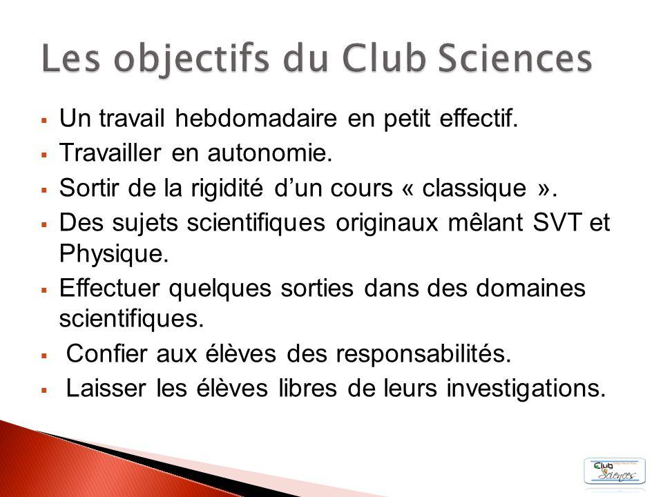 Les objectifs du Club Sciences