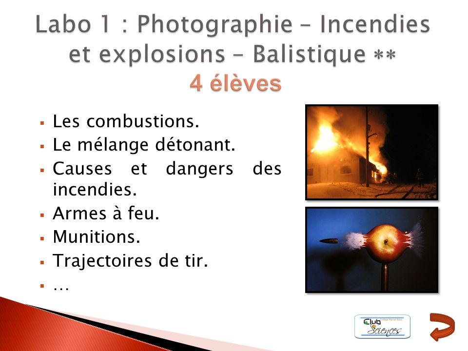 Labo 1 : Photographie – Incendies et explosions – Balistique ** 4 élèves