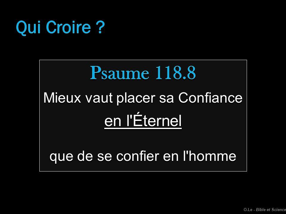 Psaume 118.8 Qui Croire en l Éternel Mieux vaut placer sa Confiance