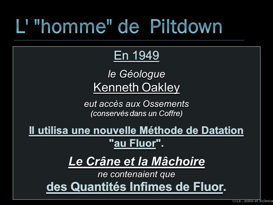 L homme de Piltdown En 1949 Kenneth Oakley Le Crâne et la Mâchoire