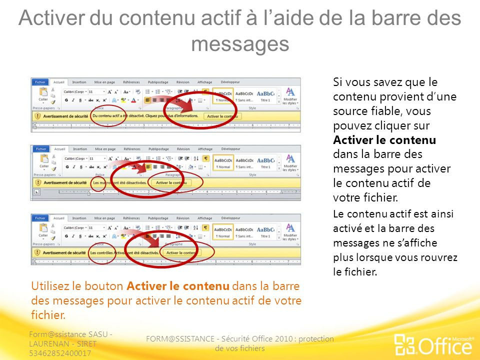 Activer du contenu actif à l'aide de la barre des messages