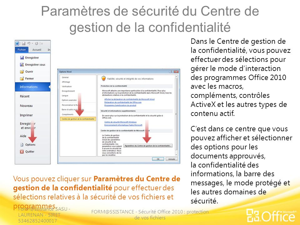 Paramètres de sécurité du Centre de gestion de la confidentialité