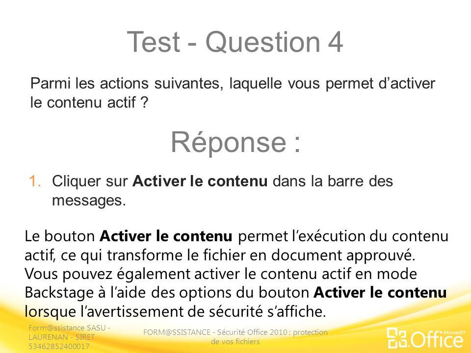 FORM@SSISTANCE - Sécurité Office 2010 : protection de vos fichiers