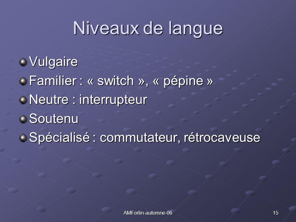Niveaux de langue Vulgaire Familier : « switch », « pépine »